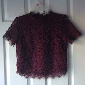 Burgundy full lace cropped blouse